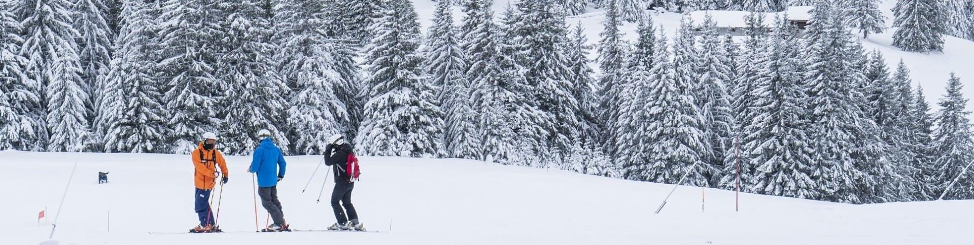 Skieurs sur les pistes de ski à Châtel 74