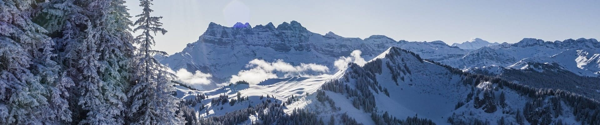 Winter view over the Dents du Midi from Chatel