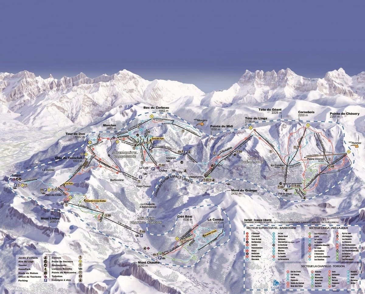 Consulter en ligne le plan du domaine skiable de Châtel