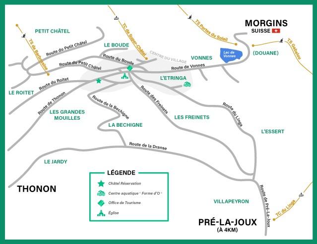 Plan du village de Châtel Réservation été
