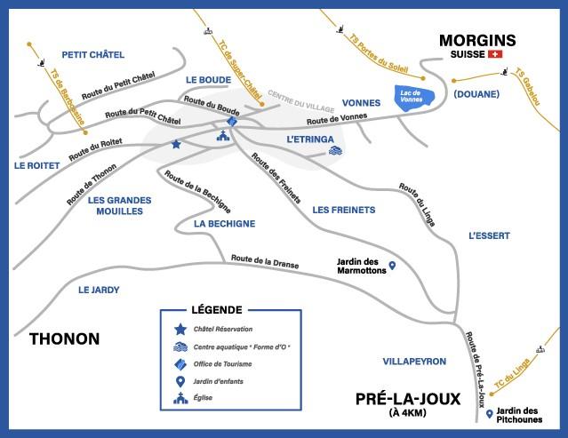 Plan du village de Châtel Réservation hiver