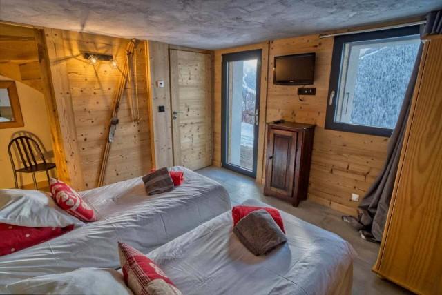 Appartement Martonne terrasse, Chambre 2 lits simples au rez de chaussée, Châtel Portes du Soleil