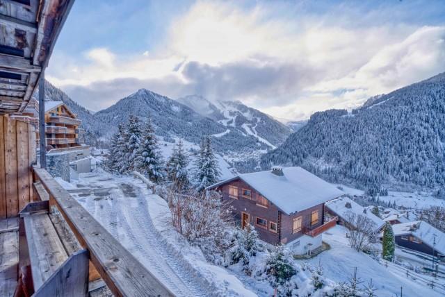 Appartement Martonne terrasse, vue depuis le balcon, Châtel Haute Savoie