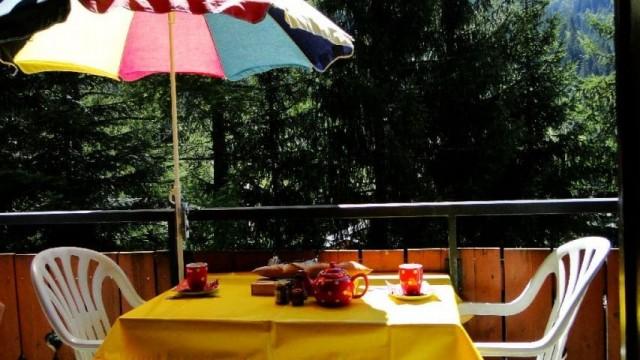 Appartement n°13 B dans résidence les Voinettes, balcon en été, Châtel Portes du Soleil