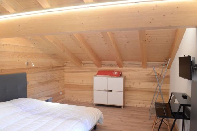 Chalet les sources, chambre 2 lits simples à l'étage, Châtel Portes du Soleil